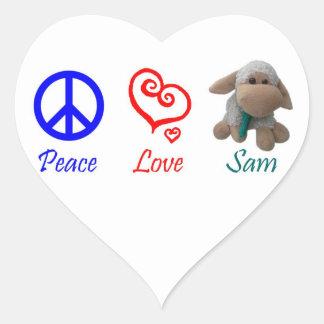 Peace, Love, Sam the Sheep Heart Sticker