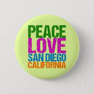 Peace Love San Diego California Button