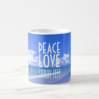 Peace, Love, Sandy Feet Coffee Mug