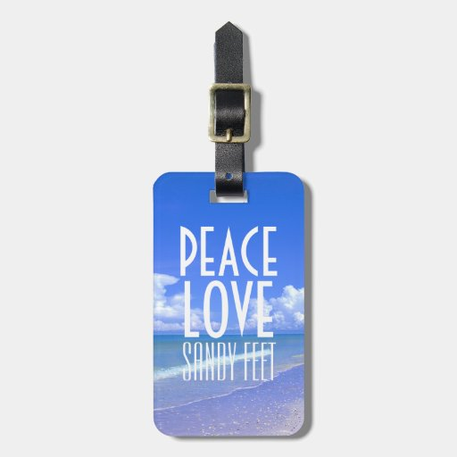 Peace, Love, Sandy Feet Tag For Bags