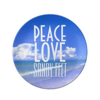 Peace, Love, Sandy Feet Porcelain Plate