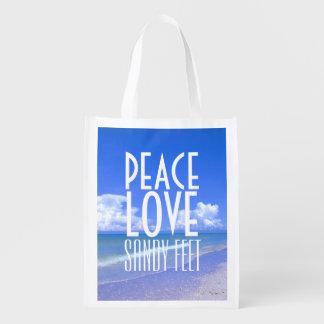 Peace, Love, Sandy Feet Grocery Bag