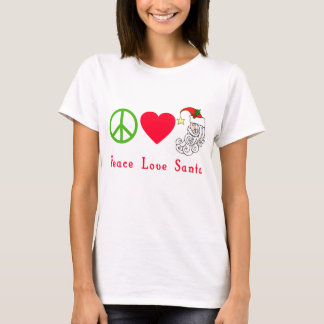 Peace Love Santa Claus Christmas Tshirt