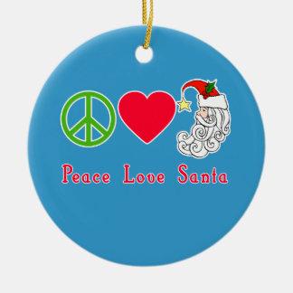 Peace Love Santa Claus Christmas Tshirt Double-Sided Ceramic Round Christmas Ornament