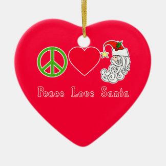 Peace Love Santa Claus Christmas Tshirt Double-Sided Heart Ceramic Christmas Ornament