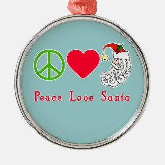 Peace Love Santa Claus Christmas Tshirt Round Metal Christmas Ornament