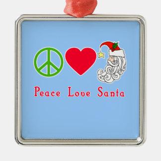 Peace Love Santa Claus Christmas Tshirt Square Metal Christmas Ornament