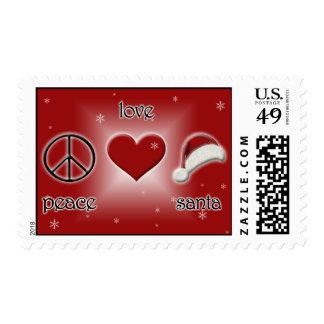 Peace Love Santa Stamp