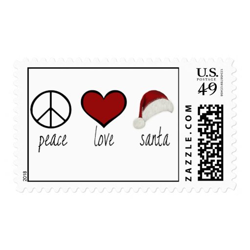 Peace Love Santa Postage Stamps