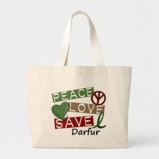 PEACE LOVE SAVE Darfur Large Tote Bag