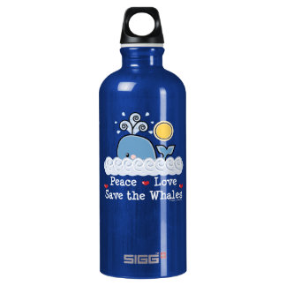 Peace Love Save the Whales BPA Free Water Bottle