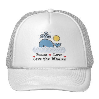 Peace Love Save The Whales Cap Trucker Hat
