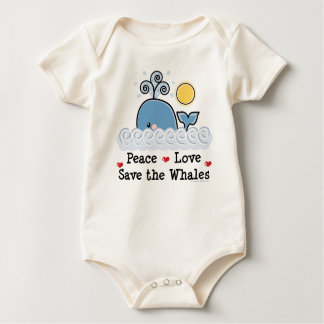 Peace Love Save The Whales Organic Baby Bodysuit