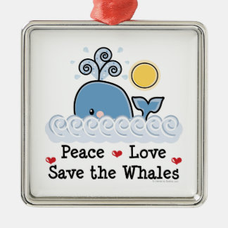 Peace Love Save The Whales Ornament