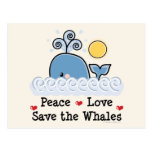 Peace Love Save The Whales Postcard