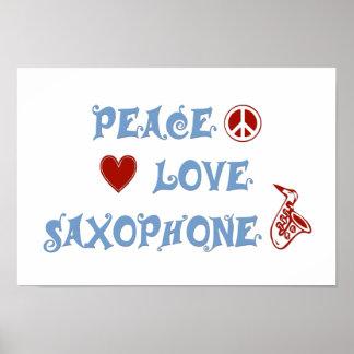 Peace Love Saxophone Poster