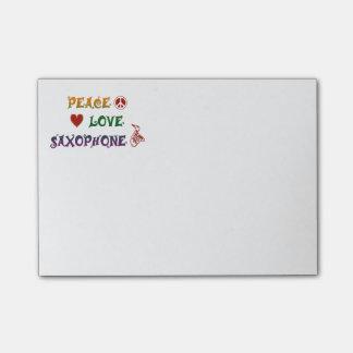Peace Love Saxophone rainbow Post-it® Notes