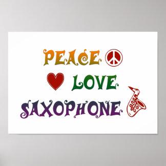 Peace Love Saxophone rainbow Poster