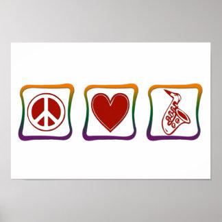 Peace Love Saxophone rainbow squares Poster