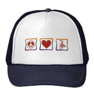 Peace Love Saxophone rainbow squares Trucker Hat