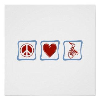 Peace Love Saxophone squares Poster