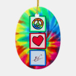Peace, Love, Saxophones Double-Sided Oval Ceramic Christmas Ornament
