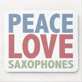 Peace Love Saxophones Mouse Pad