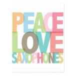 Peace Love Saxophones Tees & Gifts Postcard
