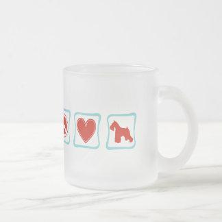Peace Love Schnauzers Frosted Glass Coffee Mug