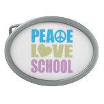 Peace Love School Oval Belt Buckles