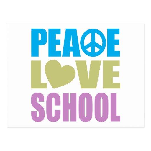 Peace Love School Post Card