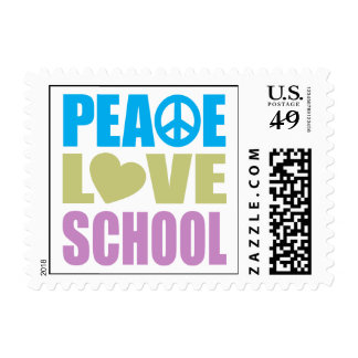 Peace Love School Postage Stamp