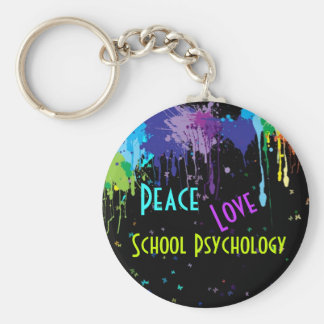 Peace, Love, School Psychology Key Chain