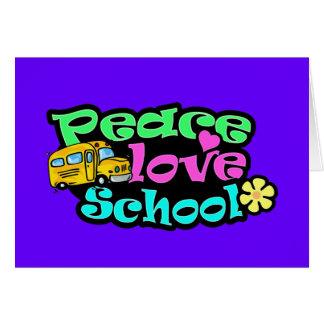 Peace, Love, School; Retro Greeting Card