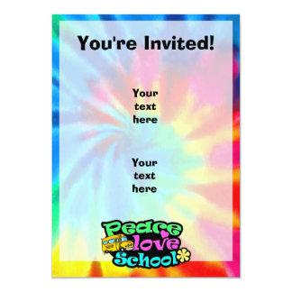 Peace, Love, School; Retro 5x7 Paper Invitation Card