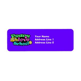 Peace, Love, School; Retro Return Address Label