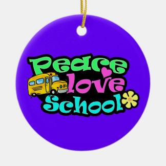 Peace, Love, School; Retro Christmas Ornament