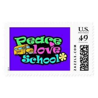 Peace, Love, School; Retro Stamp