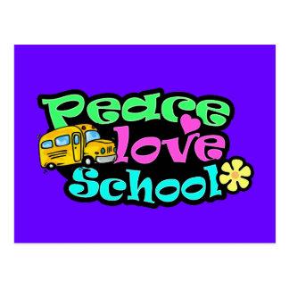 Peace, Love, School; Retro Postcard