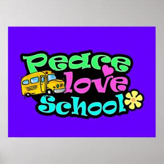 Peace, Love, School; Retro Print
