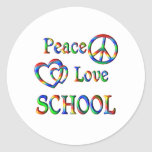 Peace Love SCHOOL Round Sticker