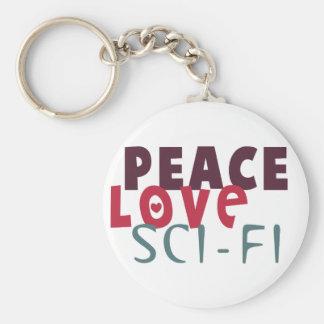 Peace Love Sci-Fi Basic Round Button Keychain