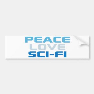 Peace Love Sci-Fi Car Bumper Sticker