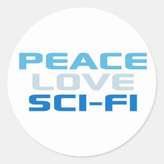 Peace Love Sci-Fi Classic Round Sticker