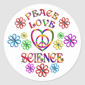 Peace Love Science Classic Round Sticker