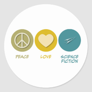 Peace Love Science Fiction Classic Round Sticker