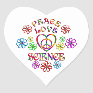 Peace Love Science Heart Sticker