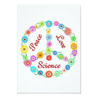 "Peace Love Science 5"" X 7"" Invitation Card"