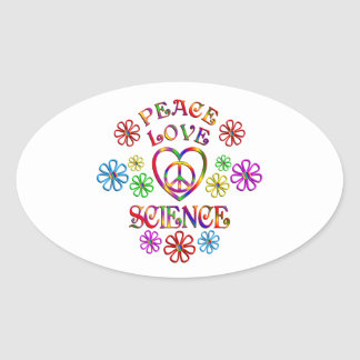 Peace Love Science Oval Sticker