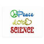 PEACE LOVE SCIENCE POSTCARD